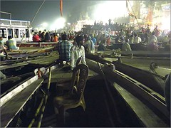 Fitting together like Jig-saw Pieces (Mary Faith.) Tags: ghats steps tourist boats varanasi hold city india river night lights ganges act performance arti