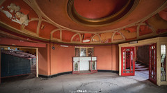 Two Door Cinema Club. (5PR1NK5 Photography • Off The Beaten Track Urban) Tags: ue urbex urban exploraton explore exploring lobby hall stairs chairs theatre cinema abandoned space derelict forgotton lost discover seek find derp decay decaying disused art deco fireplace ornate features grandeur dust uwa 14mm prime full frame canon fine photography 5pr1nk5