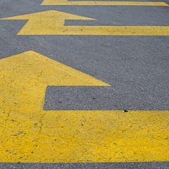 Urban Abstract No 50 (llawsonellis) Tags: asphalt signs arrows pattern graphic texture line lines linear urban mundane abstract minimal yellow grey repetition square nikon
