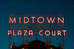 Midtown Plaza Court (dangr.dave) Tags: architecture downtown historic ok okc oklahoma oklahomacity midtownplazacourt neon neonsign
