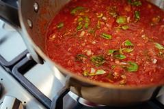 Pasta alla Norma (stijn) Tags: mauviel food pastaallanorma tomato herbs watatenzijnl basil sauce kitchen