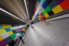 Three Strangers (martin.matte) Tags: munich münchen metro subway colourful underground architecture longexposure movement cityscape urban indoor germany deutschland ubahn