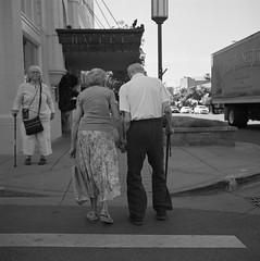 Together (ASHLANDJET) Tags: film rolleiflex 35e planar ilford xp2 mediumformat 120 analog blackandwhite monochrome ashland oregon people street couple vintagecamera tlr epsonv500