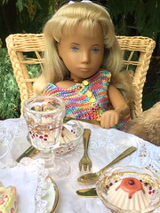 No one is having dessert but Johanna (Emily1957) Tags: sashadolls sashadoll vintage steiff teddybear earlyenglishsashadoll light naturallight availablelight iphone wicker lace dessert sashamorgenthaler battenberglace
