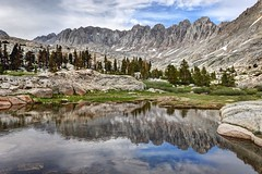 Reflections in the Miter Basin (Sierralara) Tags: mountains sierra nevada range light hiking backpacking camping outdoors california kings canyon national park sierralara sierras nikon photography climbing beauty mountain discover discovery scenery john muir ansel adams wilderness wild usa united states america sun sunrise dawn dusk sunset clouds morning evening sequoia miter basin rock creek water mount pickering iridescent lake sky trees granite boulders outside