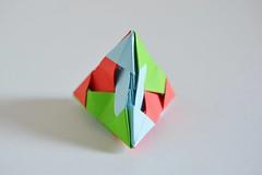 Snow Capped Aperio Tetrahedron (Byriah Loper) (Byriah Loper) Tags: origami origamimodular modularorigami modular kusudama paperfolding paper polygon polyhedron byriahloper crease