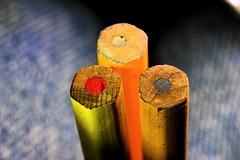 3 Wooden Leaded Pencils (donjuanmon) Tags: donjuanmon nikon 3 macro macromondays pencil lead theme yellow red black