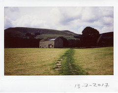 Thursday 13th July (ronet) Tags: fuji thursdaywalk barn edale field film instantfilm instax instax200wide kinderscout pasture peakdistrict scanned utata
