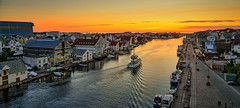 Summer evening, Haugesund - Norway (Vest der ute) Tags: g7x norway rogaland haugesund sunset seaside sea city cityscape boats reflections houses road sky softlight summer water clouds fav25