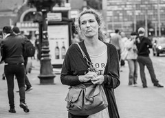 Girl in the city (Dan_Vel) Tags: bw blackandwhite monochrome monotone street streetphoto streetphotography candid people poland gdansk girl face emotion