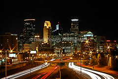 Exterior nighttime long exposure high dynamic range photograph of the downtown Minneapolis, Minnesota skyline taken from overpass spanning 35W highway (Travis Powers Photography) Tags: exterior nighttime longexposure highdynamicrange downtown minneapolis minnesota skyline overpass spanning 35w highway outside night dark long exposure highdynamic high dynamic range hdr city cityscape urban mn bridge span roadway midwest hennepincounty hennepin county traffic blue lights buildings
