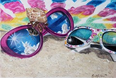 Beach Day (Kristy912) Tags: polychromos luminance prismacolor strathmorebristol colored pencil magazine challenge sunglasses beach still colorful