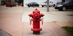 Red fire hydrant (bill.d) Tags: barrycounty hastings michigan us unitedstates downtown summer