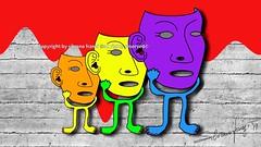 Masks (Artista Franzi) Tags: sticker artdigital fineart abstract digitalart cubism sketch stylus adonitpixel