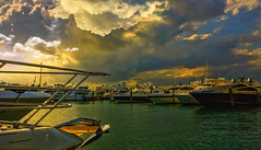 Evening colors in South Beach Marina. (Aglez the city guy ☺) Tags: marina yacht miamibeach miamibeachmarina afternoon sobe southpointepark colors clouds outdoors waterways walkingaround walking