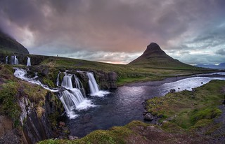 Midnight sunset at Kirkjufellsfoss