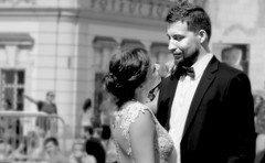 The look of love is in your eyes... (John (thank you for >1.5 million views)) Tags: thelookoflove 7dwf monochrome bw streetphotography streetpeople streetportraits wedding candidphotography couple townsquare travelphotography prague czechrepublic