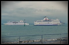 Ships that pass.....HSS. (oldcarliol42) Tags: brittanyferries portsmouthengland slidersunday