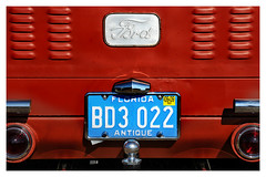 Remembering Henry. (Jill Bazeley) Tags: henry ford truck hot rod liftgate antique vintage car automobile daytona turkey run red lift gate louver louvre tail light taillight license plate nikon logo nameplate trailer hitch speedway
