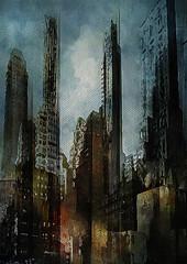 Town (jeanfenechpictures) Tags: batiment building newyork usa unitedstates texture tour tower dessin nuages clouds sunset nuit night ville town