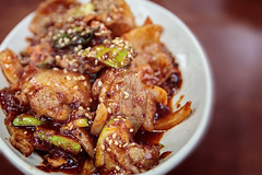 Korean Stir-Fried Pork Meat (Johnnie Shene Photography(Thanks, 2Million+ Views)) Tags: korea korean meat meats dressing dressed food foods meal meals depthoffield asia interesting awe wonder halflength delicious hotspice hotspicy vivid eating dinner lunch dish photography horizontal indoor colourimage fragility freshness nopeople foregroundfocus adjustment porkmeat pork stirfry koreanfood asianfood manmade restaurant cuisine hotsauce red tradition cooking cooked ordered affection delicate folkfood jeiyook canon eos80d 80d sigma 1770mm f284 dc macro lens 제육덮밥 제육 고기 제육볶음 돼지고기 육류 stirfried