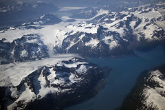 glaciers - mountains - Alaska Canada-  from Delta jet window (watts_photos) Tags: glaciers mountains alaska canada from delta jet glacier snow mountain landscape plane aerial view prince william sound fjord inlet water ice retreating global climate change bay blue white