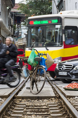 parking (Greg Rohan) Tags: citylife city urbanlife urban tracks traffic mobileseller asia vietnam hanoi traintracks bicycle bike photography 2017 d7200