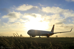 Air Canada Rouge (PiscesDreamer) Tags: vancouverinternationalairport yvrairport richmond britishcolumbia canada seaisland summer morning airplane runway airfield jet sunrise aircanadarouge boeing767300 cghpn