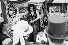 Empress Steampunk Safari (Miss Fortunate) Tags: empressthemecamp otherworld otherworldians burningmanvictoria teaparty monochrome blackandwhite bw