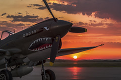 Warhawk Sunrise (jetguy1) Tags: p40warhawk flyingtiger warhawk warbird airplane fighter fighterpilot wwii sunrise sun redsky clouds nikon explore