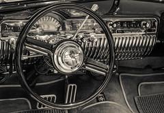Classic Controls (John Kocijanski) Tags: car steeringwheel classic vintage blackandwhite canon24105mmf4l canon5dmkii vehicle