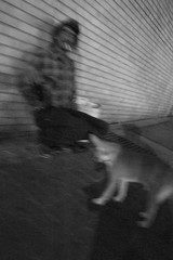 R0016875 man and dog at night (Nashville Street Photography) Tags: streetphotography nashvilletn downtownnashville ricohgr ricohgrd ricohimages street streetphoto bnw bw tennessee