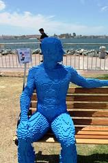 2016-Lego Blue Man Statue by the Bay Outside SDCC-02 (David Cummings62) Tags: sandiego ca calif california comiccon con david dave cummings outside 2016 lego statue bay art