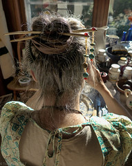 Mona - hair sticks2  7-20-17 (photo synth) Tags: hairsticks hairdecorations beadwork maple maplesticks carvedmaple jewelry adornments hair hairstyles fashion dangerous dangeroushair