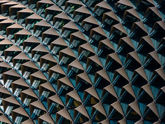 The Durian shaped Performing Arts Center (Steve Taylor (Photography)) Tags: durian performingartscenter art architecture window blue brown glass metal asia singapore city shape clarkequay hood
