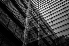 white lines (aniretak) Tags: trip travel europe centraleurope bremen germany outdoor bw building architecture glass windows facade monochrome blackandwhite reflection lines