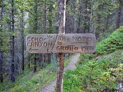 Grotto Mountain Summit Scramble loop - Rock climbers sign (benlarhome) Tags: canmore alberta canada grottomountain hike hiking scramble scrambling trek trekking mountain rockies rockymountain trail path