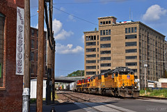 """Westbound Transfer in Kansas City, MO (""""Righteous"""" Grant G.) Tags: up union pacific railroad railway locomotive train trains emd power engine transfer west westbound bottoms docs caboose store"""