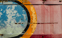 Summer Getaway (Junkstock) Tags: aged abandoned artifact artifacts abstract abstraction blue california color corrosion corroded decay decayed distressed graphics graphic patina paint peelingpaint red relic rust travel weathered yellow trains train railroad