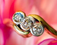 The three of diamonds. (MikeBoyes) Tags: macromondays macro diamonds gold ring three nikon d7100 tamron bright
