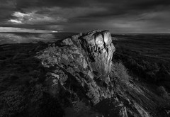 A Hint Of Glint Mono (Julian Barker) Tags: the roaches staffordshire england uk europe peak district dark monochrome black white mood atmosphere brooding edge rock light shadow canon dslr 600 julian barker