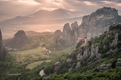 Dreamy Hazy Meteora (pietkagab (on the road)) Tags: meteora landscape greece greek attraction rocks monasteries monastery sunset rocky evening dramatic color hazy europe european unesco pietkagab photography pentax piotrgaborek pentaxk5ii travel trip tourism trekking sightseeing adventure outdoors
