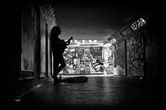 graffiti and guitars (Daz Smith) Tags: dazsmith fujixt20 fuji xt20 andwhite bath city streetphotography people candid portrait citylife thecity urban streets uk monochrome blancoynegro blackandwhite mono brisol femal silhouette guitar busker music musician graffitit murals bristol