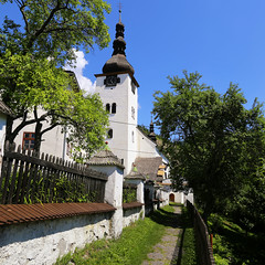 Historical church in old mining village Špania Dolina (B℮n) Tags: španiadolina banskábystrica mining town 782m catholic church white stairway covered low tatra mountains fortified klopačka village natirure green 16th centry lord built romanesque foundations wonderful panorama slovakia slowwakije wood stone historic picturesque climb 160 stairs roofed staircase trees tall tower viewpoint nature summer view spania valley špania dolina transfiguration kostolpremeneniapána 50faves topf50