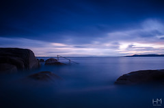 Forty Foot 20Jul2017 2-2 (Helen Mulvey) Tags: fortyfoot dublin ireland lastlight sunset dusk water sea coast tide waves longexposure dunlaoghaire tripod niko d5100 outdoor seascape landscape handrail ethereal sky cloudmovement cloud movement rocks hightide
