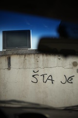 Lonely Television (Jan Tomic) Tags: wall tv random bizarre car 5d canon lonely television street split croatia