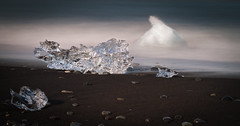 Jökulsárlón Beach (Jack Landau) Tags: jökulsárlón beach diamond ice glacier black sand stones ocean sea water iceberg chunk prism transparent clear long exposure nature coast iceland jack landau