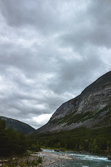 (Rasmus Ink) Tags: norway mountain river forest cloudy shore