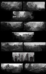 Various Thumbs (ArchonArt) Tags: art 2dart conceptart illustration environment digitalart landscape scenery 2d 2dartworks thumbnail thumbnails blackandwhite sketch multiple