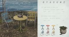 oyasumi / lawn chair & table set + droopy table plant @ Knot & Co. (Kenzo Gateaux / oyasumi) Tags: oyasumi second life furniture lawn chair table droopy plant